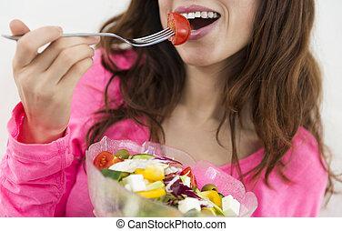 etende vrouw, een, kom van de slaatje