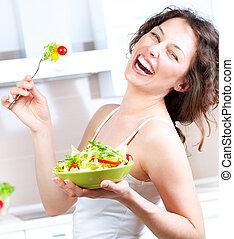 etende vrouw, slaatje, gezonde , jonge, diet., groente