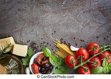 etenswaar achtergrond, italiaanse