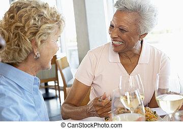 etentje, vrienden, hebben, samen, restaurant