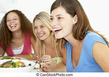 etentje, vrienden, hebben, samen, thuis