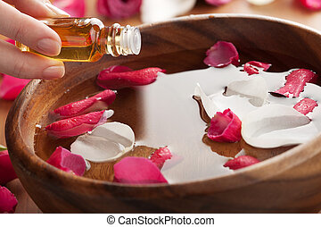 eterisk olja, för, aromatherapy