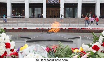 eternal fire of monument to unknown soldier on Poklonnaya...