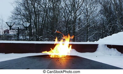 Eternal fire on the monument to unknown soldier