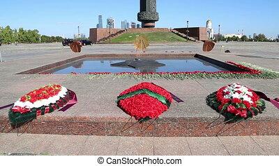 Eternal Flame at Victory Park on Poklonnaya Hill , Moscow,...