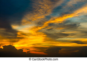 Eternal flame colorful cloud and evening sky and ray light of sunset