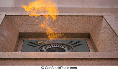 Eternal flame on the Victory Square in Minsk, Belarus -...
