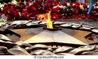 Eternal Flame - The eternal flame of fire in a large number...