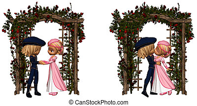 eternal love - Romeo and Juliet in the garden - isolated on...