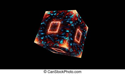 Eternal magic flame cube square core energy surface and fire on the corner