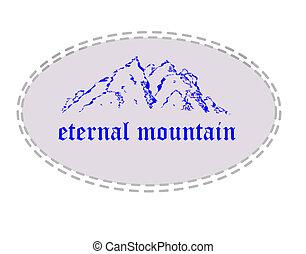 Eternal mountain.  - Blue mountain in ellipse.