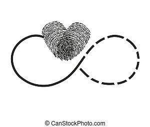 eternidad, impresión, dedo, corazón