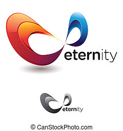Stylized infinity symbol or mobius strip with flashy colors and grayscale version