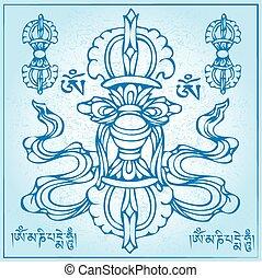 eterno, budismo, ilustración, símbolo, vector, tibetano