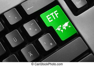 etf, キー, インターナショナル, キーボード, 緑, 入りなさい, 取引
