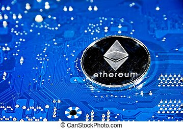ETH Ethereum coin on circuit board - Shining silver metal ...