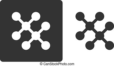 Ethane hydrocarbon molecule, flat icon style. Hydrogen and carbon atoms shown as circles.