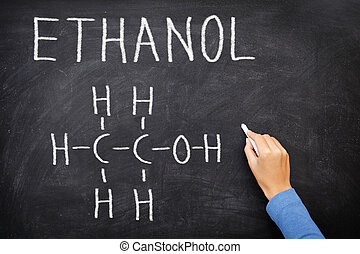 Ethanol alcohol chemical molecule structure on blackboard. ...