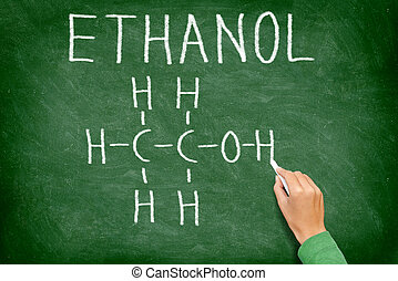 Ethanol alcohol chemical molecule structure on chalkboard. ...