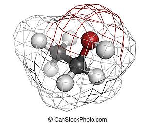 Ethanol (alcohol) molecule, chemical structure