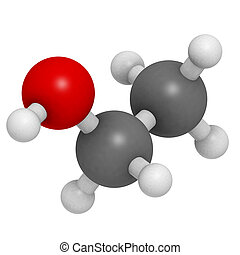 Ethanol (EtOH, ethyl alcohol) molecule, chemical structure. Ethanol is the main psychoactive component of many beverages, including beer and wine.