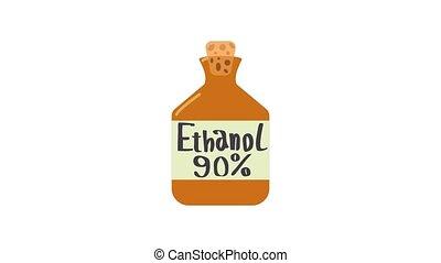 Ethanol in bottle icon animation best object on white background