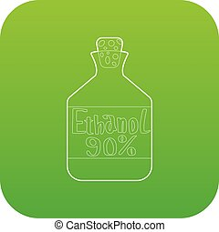 Ethanol in bottle icon green vector isolated on white...