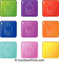 Ethanol in bottle icons set 9 color collection isolated on...