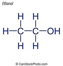 ethanol., molecule., antimicrobial, squelettique, formule, ...