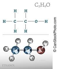 Ethanol Molecule Image - Ethanol molecule in volumetric...