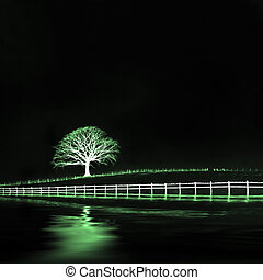 Ethereal Oak Tree Landscape - Ethereal oak tree in a field...