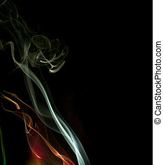 colorful background of smoke trails lit by colored lights