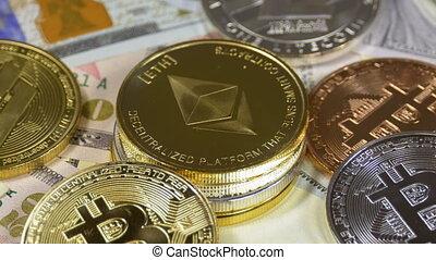 Ethereum, Bitcoin, Litecoin and Dash Coins, BTC, LTC, ETH,...