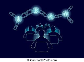 ethereum, bitcoin, ondulation, gcc, monnaie, numérique, cryptocurrency, global, chaîne, connection., grand, données, information, exploitation minière, technology., bleu, résumé, internet web, international, sécurité, paiement, vecteur, illustration