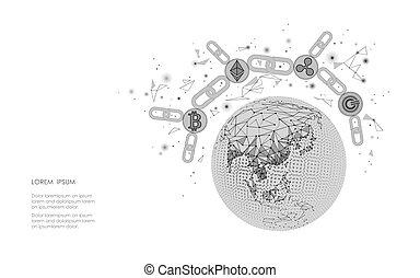 ethereum, bitcoin, ondulation, monnaie, numérique, cryptocurrency, global, planète, earth., grand, données, information, exploitation minière, technology., blanc, résumé, internet web, électronique, international, sécurité, paiement, vecteur, illustration
