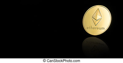 Ethereum Blockchain - Ethereum coin on black background, ...