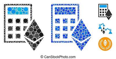 Ethereum Calculator Mosaic Icon of Spheric Items - Ethereum ...
