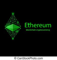 Ethereum classic black - Green outline cryptocurrency...