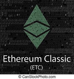 Ethereum classic cryptocurrency background - Colorful...