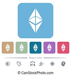 Ethereum classic digital cryptocurrency flat icons on color rounded square backgrounds