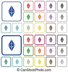 Ethereum classic digital cryptocurrency outlined flat color icons