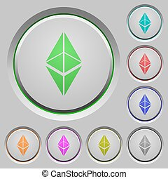 Ethereum classic digital cryptocurrency push buttons
