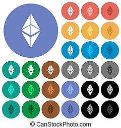 Ethereum classic digital cryptocurrency round flat multi colored icons