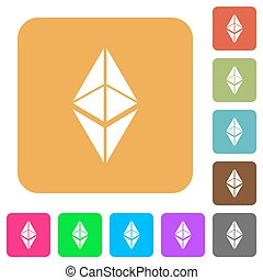 Ethereum classic digital cryptocurrency rounded square flat icons