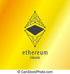 Ethereum Classic Icon with Golden Backgrounds