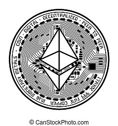 Ethereum coin black silhouette - Black coin with ethereum...