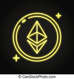Ethereum coin icon in neon line style. Cryptocurrency ...