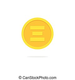 Ethereum coin icon vector, flat cartoon ether cryptocurrency money