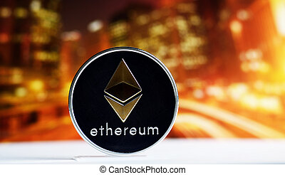 ethereum coin on colorful background - Ethereum coin over ...