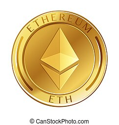 Ethereum Coin on White Background illustration